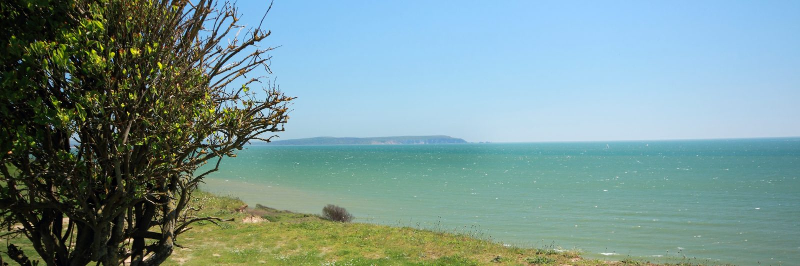 view of Isle of Wight from Highcliffe cliff top